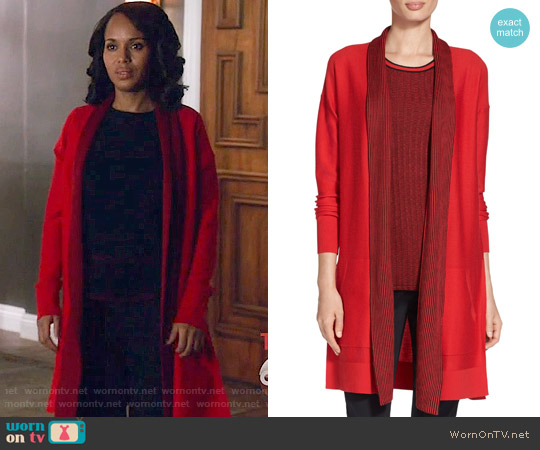 St John Collection Twill Stitch Knit Cardigan worn by Kerry Washington on Scandal
