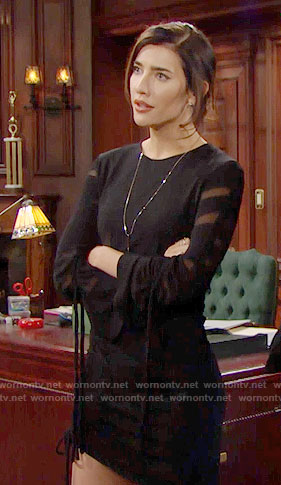Steffy's black drawstring dress on The Bold and the Beautiful