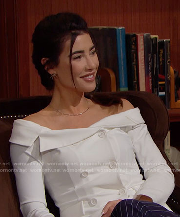 Steffy's white double-breasted off-shoulder top on The Bold and the Beautiful