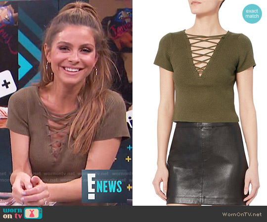 T by Alexander Wang Olive Lace-Up Short Sleeve Sweater worn by Maria Menounos on E! News
