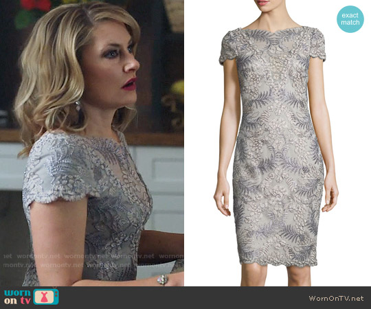 Tadashi Shoji Cap-Sleeve Floral Embroidered Sheath Dress worn by Alice Cooper (Mädchen Amick) on Riverdale