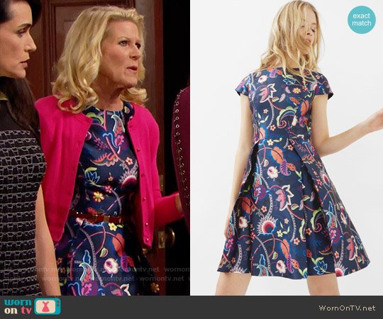 Ted Baker Fluxam Folk Foliage Skater Dress worn by Alley Mills on The Bold & the Beautiful
