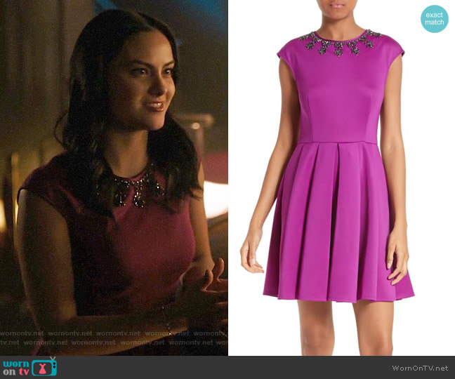 Ted Baker J'adore Embellished Fit & Flare Dress worn by Veronica Lodge (Camila Mendes) on Riverdale