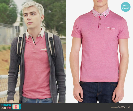 Ted Baker Skylaar Polo Shirt worn by Miles Heizer on 13 Reasons Why