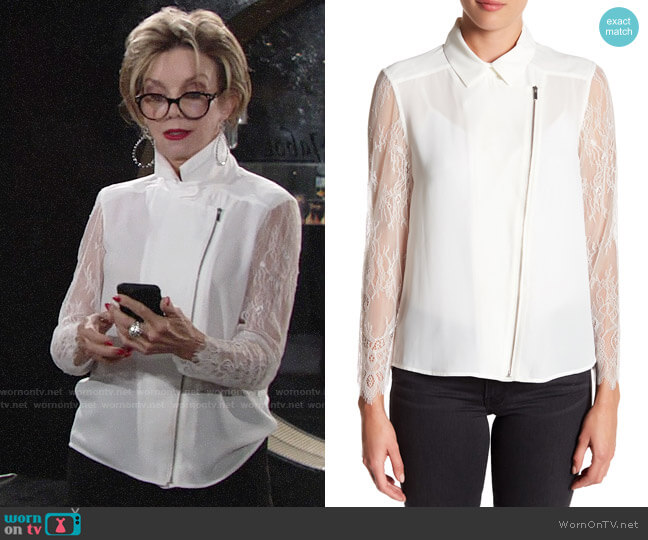 The Kooples Crepe & Lace Zip-Up Dull Matte Top worn by Gloria Abbott Bardwell (Judith Chapman) on The Young & the Restless
