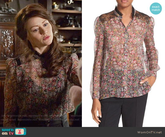 The Kooples Lace Trim Floral Print Silk Shirt worn by Emilie de Ravin on OUAT