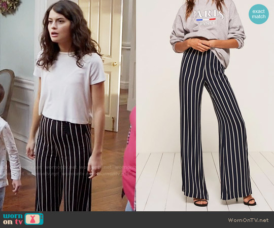 The Reformation Sorrenti Pant in Capone Stripe worn by Sofia Black D'Elia on The Mick