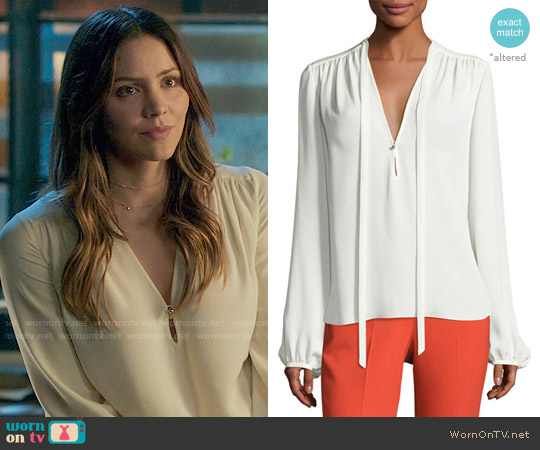Theory Bernetta Blouse worn by Katharine McPhee on Scorpion