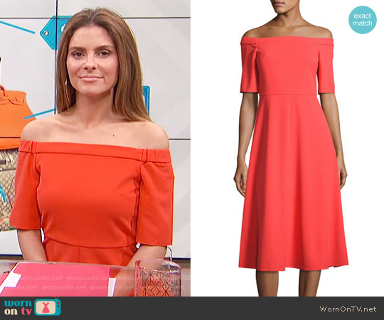 Tibi Off-the-Shoulder Crepe Midi Dress worn by Maria Menounos on E! News