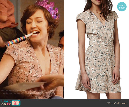 Topshop Dog Daisy Print Button Front Dress worn by Carrie Coon on The Leftovers