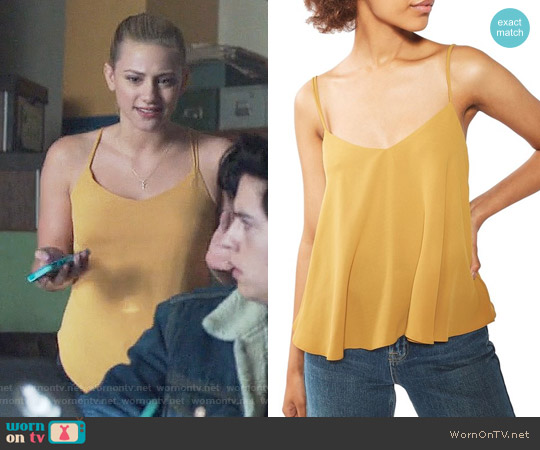 Topshop Rouleau Swing Camisole in Mustard worn by Lili Reinhart on Riverdale