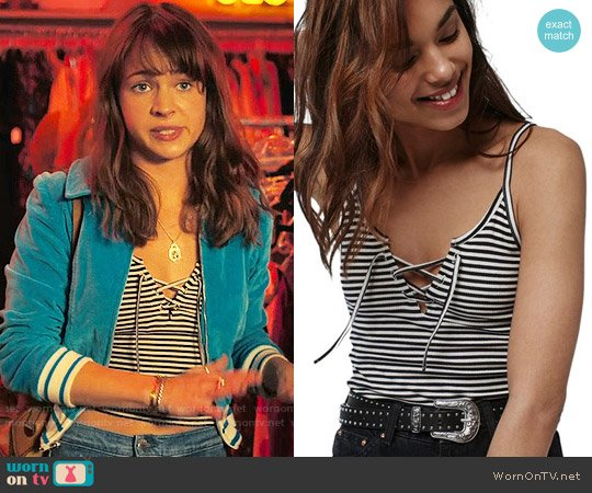 Topshop Tie Detail Crop Camisole worn by Britt Robertson on Girlboss