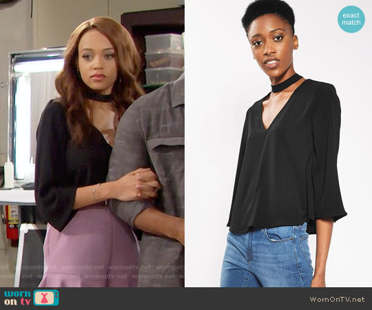 Topshop Choker Blouse worn by Reign Edwards on The Bold & the Beautiful