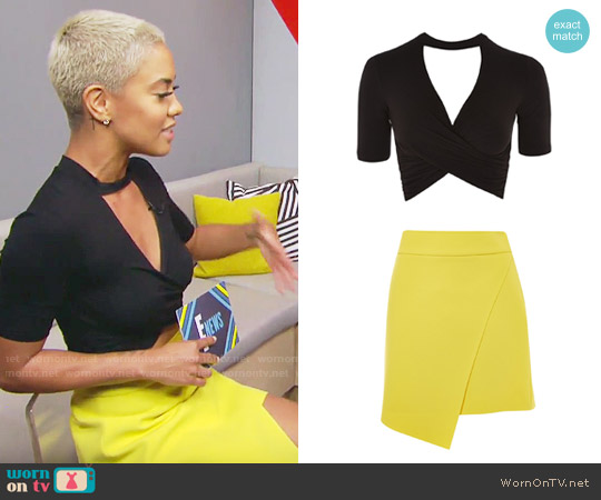 Topshop Choker Short Sleeve Twist Crop Top and Assymetric Wrap Mini Skirt worn by Sibley Scoles on E! News