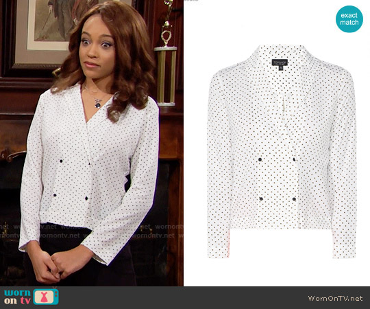 Topshop Cross Print Pyjama Shirt worn by Nicole Avant (Reign Edwards) on The Bold & the Beautiful