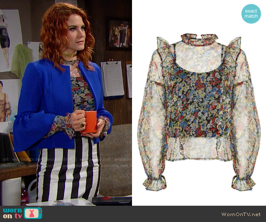Topshop Floral Mesh Frill Blouse worn by Courtney Hope on The Bold & the Beautiful