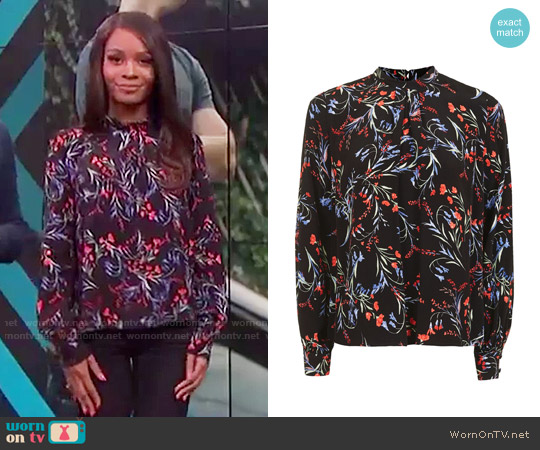 Topshop Floral Tuck Neck Top worn by Zuri Hall on E! News