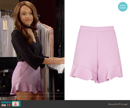Topshop Frill Hem Shorts worn by Nicole Avant on The Bold & the Beautiful