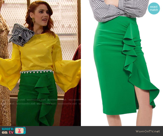 Topshop Ruffle Pencil Skirt worn by Sally Spectra on The Bold & the Beautiful