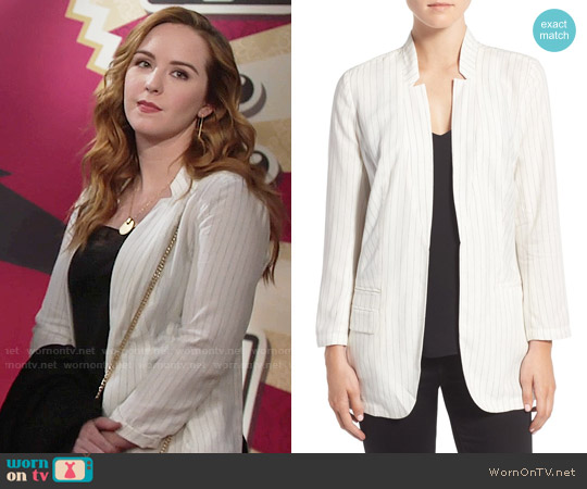 Trouve Pinstripe Split Back Blazer worn by Camryn Grimes on The Young & the Restless