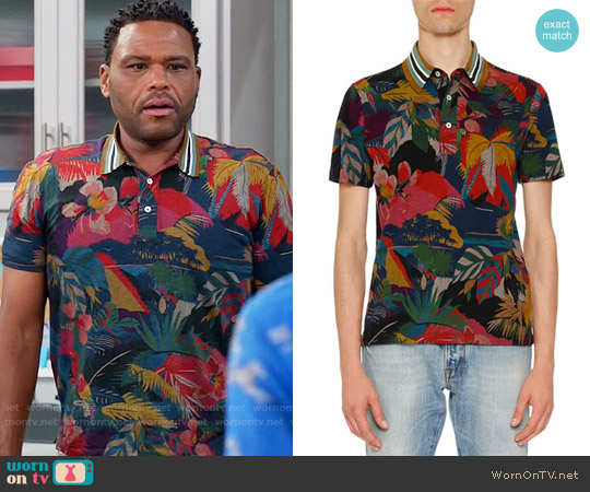 Valentino Tropical-Print Polo Shirt worn by Andre Johnson (Anthony Anderson) on Blackish