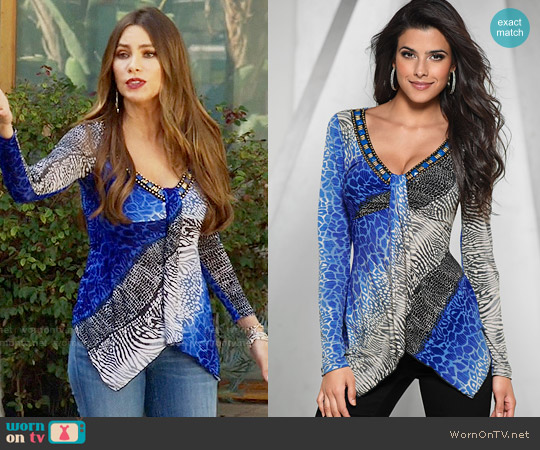 Venus Embellished V-neck Top worn by  Gloria Pritchett (Sofia Vergara) on Modern Family