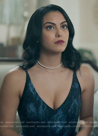 Veronica's blue and black printed v-neck dress on Riverdale