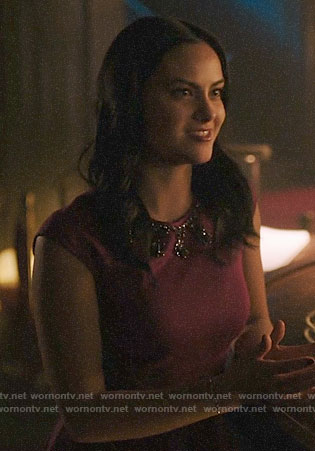 Veronica's magenta dress with embellished neckline on Riverdale