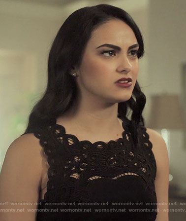 Veronica's black lace panel dress on Riverdale
