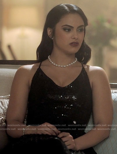Veronica's black sequin dress on Riverdale