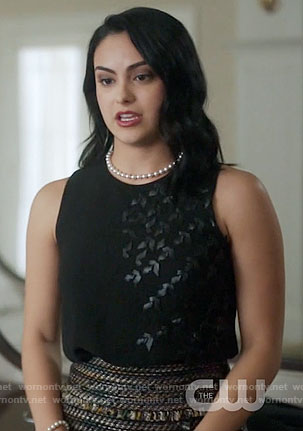 Veronica's black top and tweed skirt on Riverdale