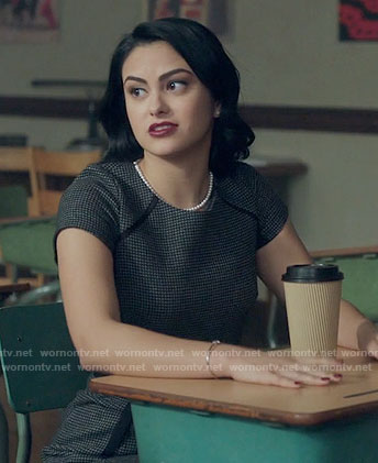 Veronica's checked short sleeve dress on Riverdale