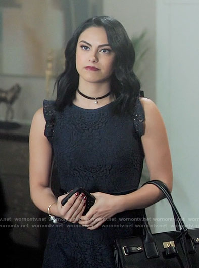 Veronica's navy lace dress with ruffle sleeves on Riverdale