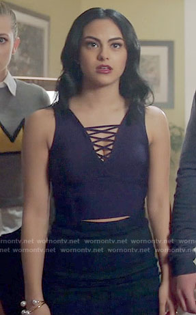 Veronica's navy blue lace-up crop top on Riverdale