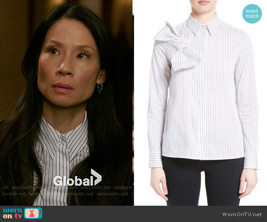 Victoria Beckham Knot Stripe Shirt worn by Lucy Liu on Elementary