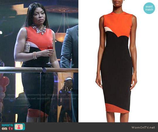 Victoria Beckham Sleeveless Heart Colorblock Sheath Dress worn by Taraji P. Henson on Empire
