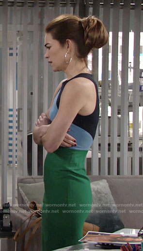 Victoria's blue and green colorblock dress on The Young and the Restless