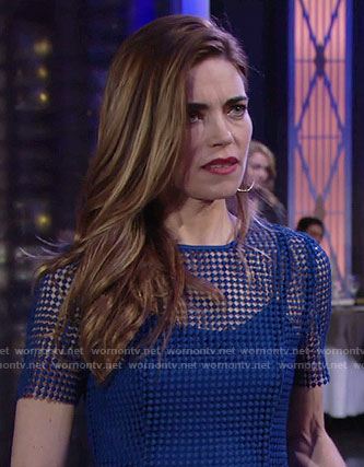 Victoria's blue mesh short sleeve dress on The Young and the Restless
