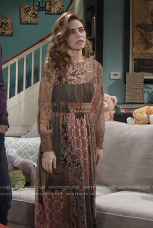 Victoria's brown printed midi dress on The Young and the Restless