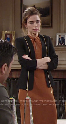 Victoria's brown twist neck dress and black zip detail blazer on The Young and the Restless