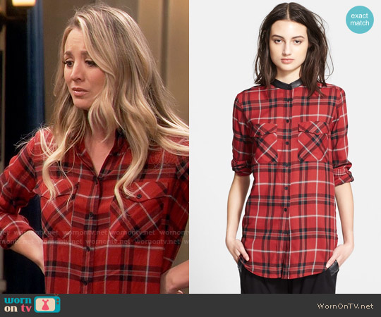 Vince Leather Trim Plaid Long Sleeve Shirt worn by Kaley Cuoco on The Big Bang Theory