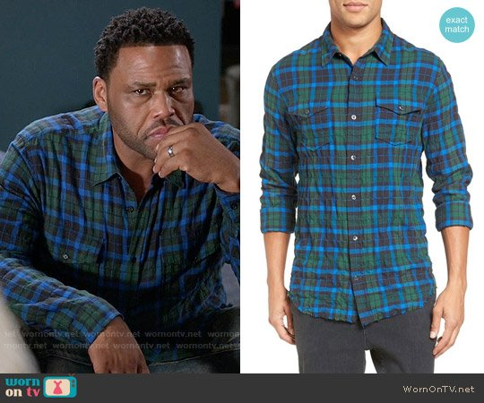 Vince Plaid Shirt in Olive / Blue worn by Anthony Anderson on Blackish