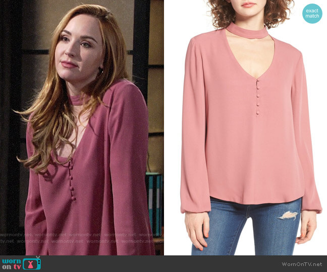WAYF Sweet Symphony V-Neck Blouse worn by Mariah Copeland (Camryn Grimes) on The Young & the Restless