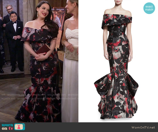 Zac Posen Off-the-Shoulder Printed Mermaid Gown worn by Max Black (Kat Dennings) on 2 Broke Girls