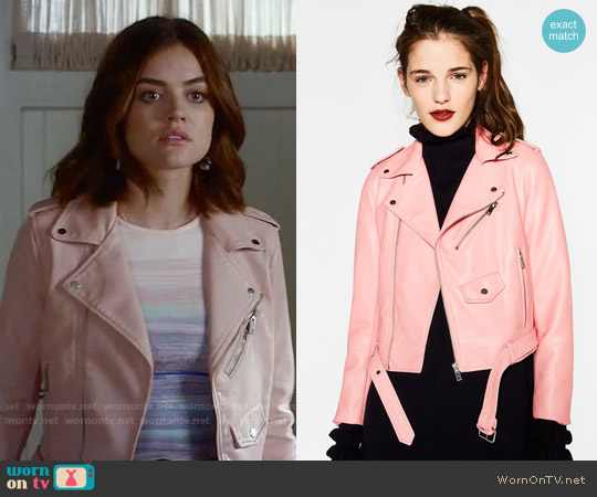 Zara Pink Leather Effect Jacket worn by Aria Montgomery on PLL