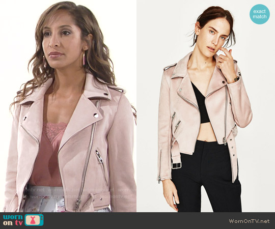 Zara Jacket with Zips in Pink worn by Christel Khalil on The Young & the Restless
