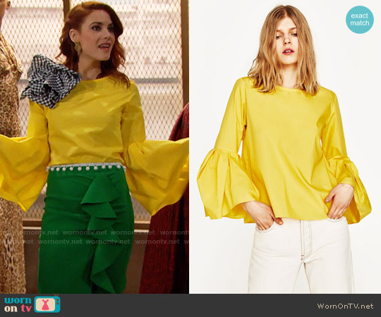Zara Poplin Top with Pleated Sleeves worn by Courtney Hope on The Bold & the Beautiful