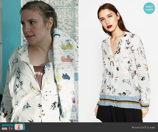 Zara Printed Shirt worn by Lena Dunham on Girls