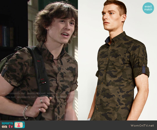 Zara Rolled Tab Sleeve Camouflage Shirt worn by Tristan Lake Leabu on The Young & the Restless
