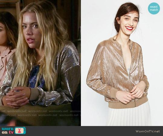 Zara Fine Pleated Metallic Bomber Jacket worn by Hanna Marin (Ashley Benson) on PLL